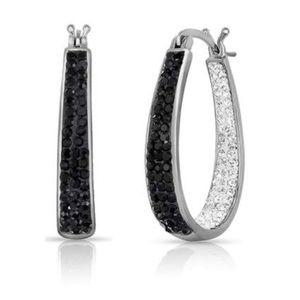 🎀• Swarovski Black/White Hoop Earrings 18k White